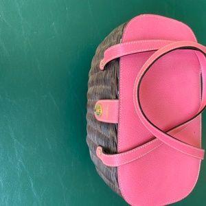 Kate Spade Dark Wicker Basket Purse Pink Top
